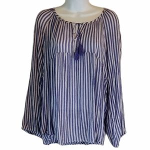 OLD NAVY Blue & White Striped Long Sleeve Blouse L